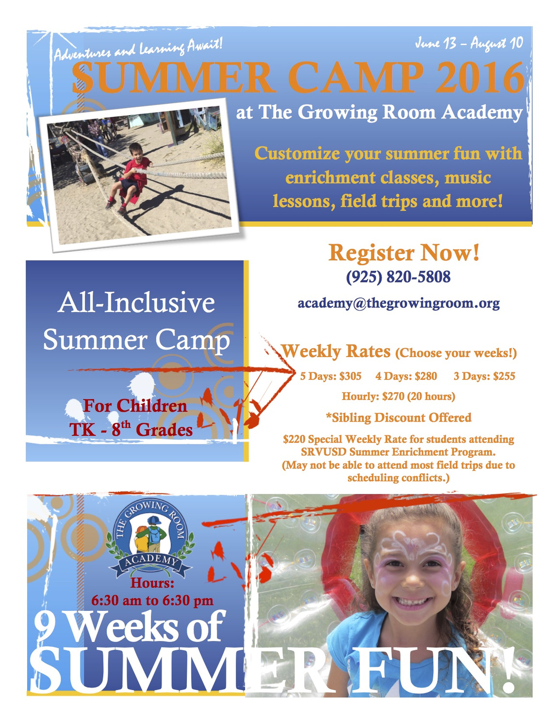 The growing room summer camps school locations for Academie de cuisine summer camp